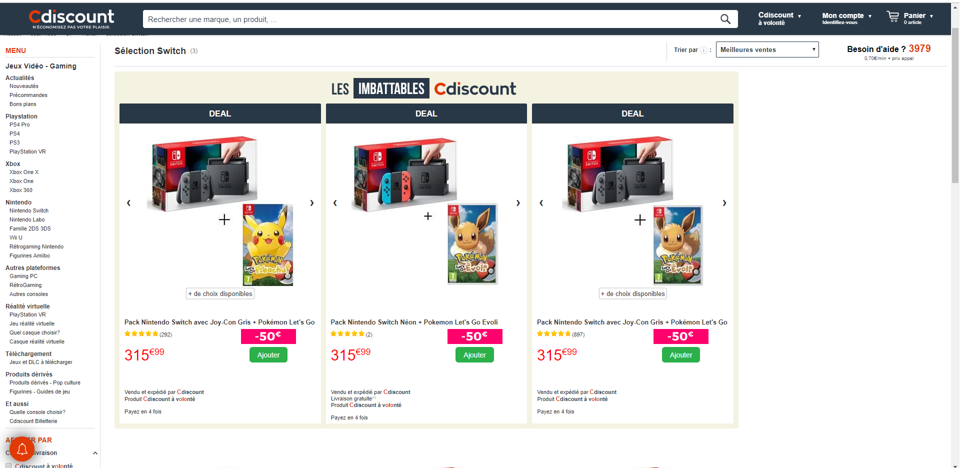 Cdiscount Pokémon Switch