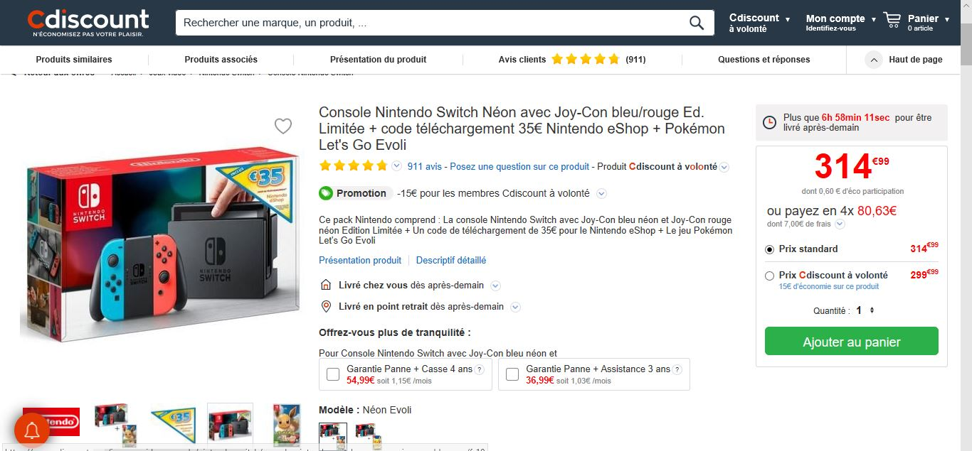 Nintendo Switch Cdiscount