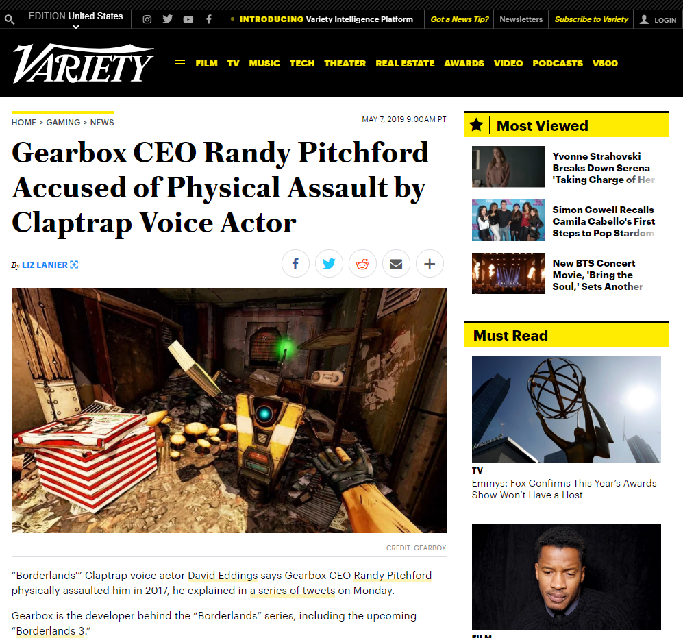 Randy Pitchford Claptrap controversy