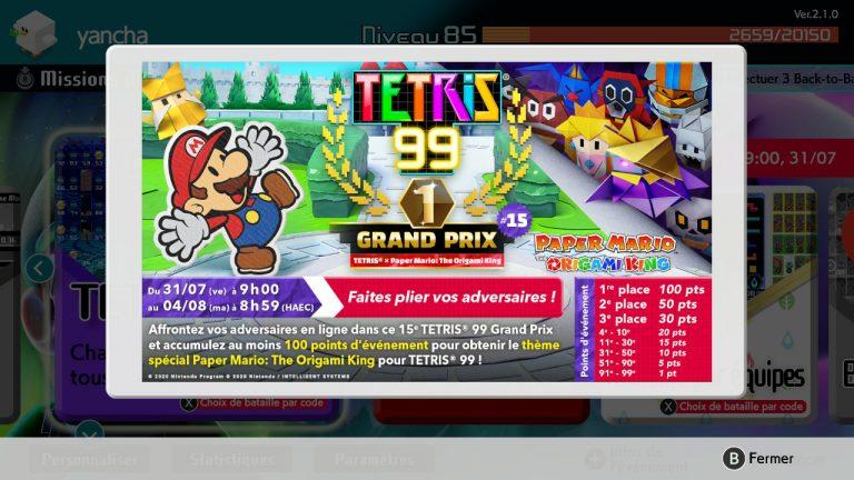 TETRIS 99 – Pliez-vous en quatre pour obtenir le thème de Paper Mario : The Origami King