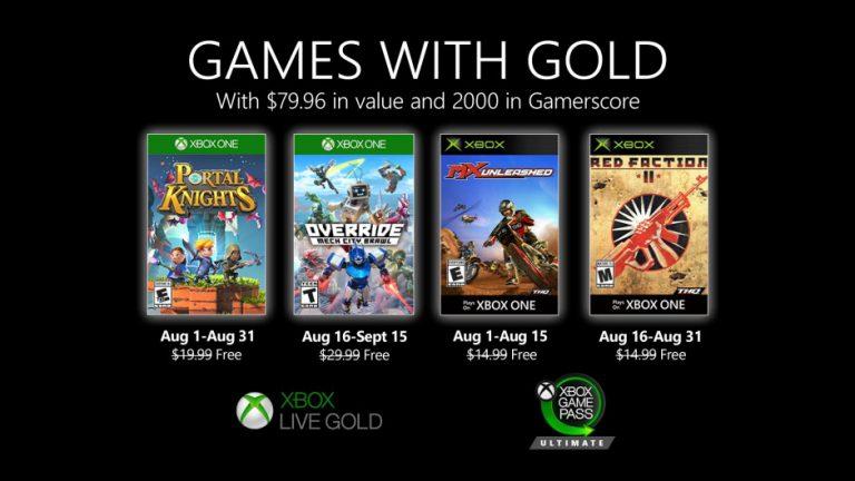 Xbox Games With Gold – Les jeux d'août sont arrivés !